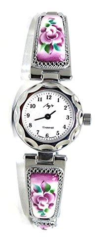 Lady's Women Wrist Wind up Finift Floral Watch Bracelet/Purple by LUCH