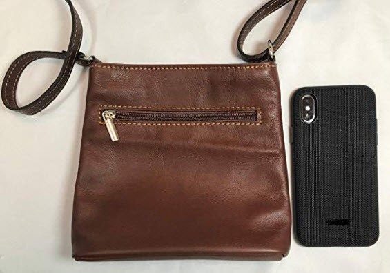 LaGaksta Mini Very Soft Italian Leather Crossbody Small Cell Phone Wallet Purse, brown
