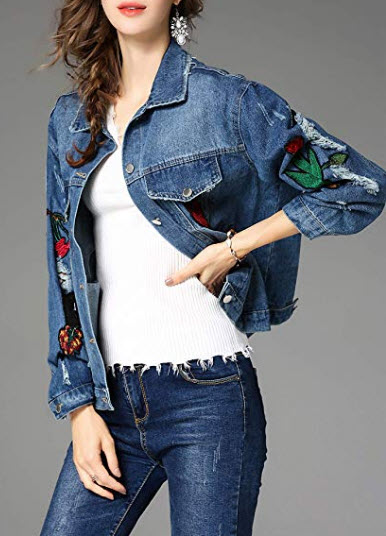 Womens Distressed Embroidered Floral Button Up Denim Jackets Black/Blue ONESIZE, style 1 blue