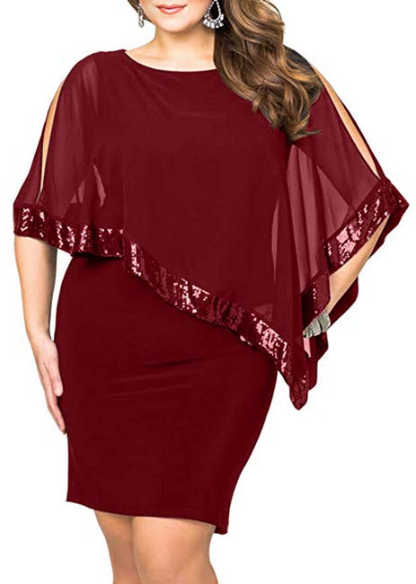 Lalagen Womens Sequins Cape Overlay Plus Size Bodycon Party Cocktail Pencil Dress 1X-4X burgundy