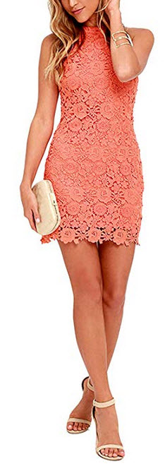Lamilus Womens Casual Sleeveless Halter Neck Party Lace Mini Dress coral orange