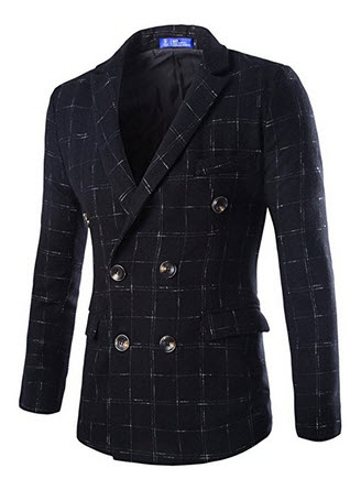LANBAOSI Men's Vintage Plaid Double Breasted 4 Buttons Suit Blazer Jacket.