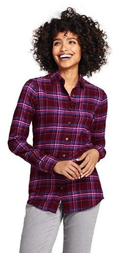 Lands End Womens Flannel Shirt Deep Claret Fusion Pink Plaid