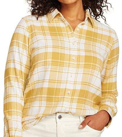 Lands' End Women's Plus Size Flannel Shirt, soft mineral yellow plaid