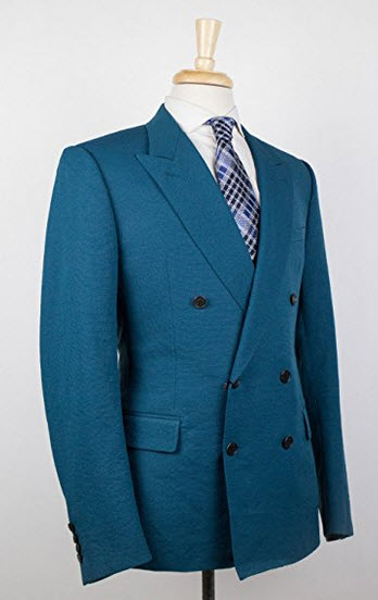 Lanvin Teal Blue Polyester Double Breasted Sport Coat Size 52/42 Reg.