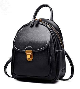 LAORENTOU Women Genuine Leather Mini Backpack Convertable Straps Daypack, black