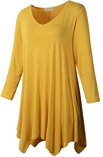 LARACE Plus Size Women Tunic Tops 3 4 Sleeve Shirt for Legging