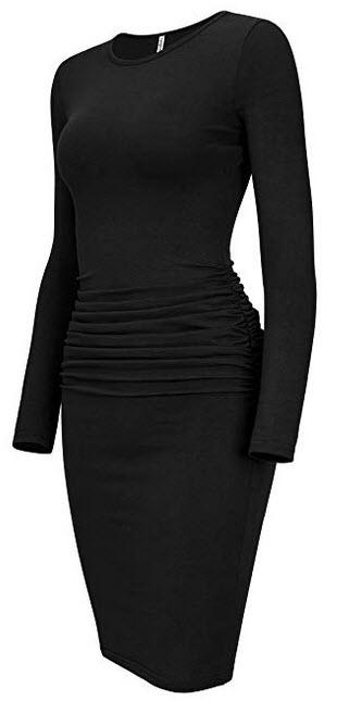 Laughido Womens Ruched Casual Plain Sundress Knee Length Sheath Bodycon T Shirt Dress Long Sleev ...