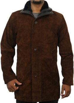Laverapelle Men's Sheriff Walt (Robert Taylor) Cow Suede Leather Coat (Black, Officer Coat) R ...