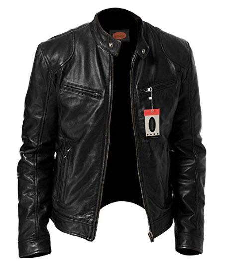 Laverapelle Men's SWORD Black Genuine Lambskin Leather Biker Jacket – 1510533.