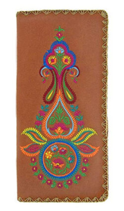 LAVISHY Embroidered Traditional Indian Mehndi Pattern Vegan Faux Leather Large Flat Wallet With  ...