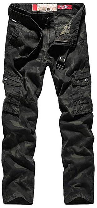 Lavnis Men's Casual Cargo Pants Military Army Camo Combat Camouflage Work Pants green