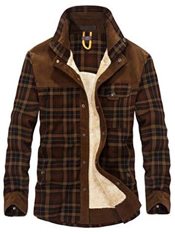 Lavnis Men's Cotton Shirt Jacket Button Down Shirts Casual Corduroy Thicken Fleece Shirt C ...