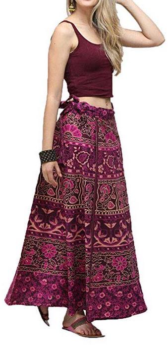Lcoco&Dream Womens Bohemian Vintage Print A Line Long Maxi Skirt Hippie Boho Dresses Drawstr ...