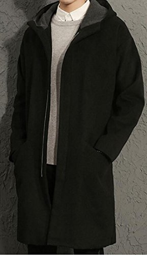 LD Mens Winter Zip Up Hooded Thick Long Wool Trench Pea Coat Overcoat