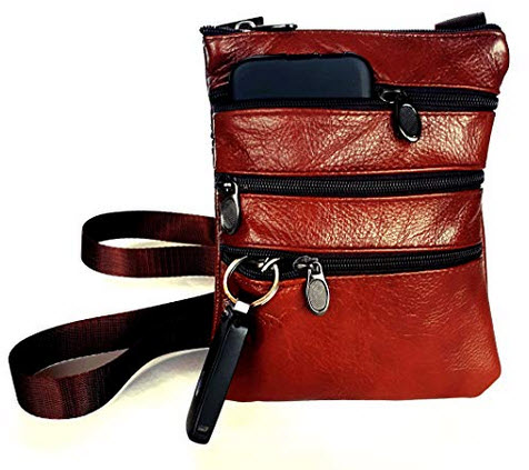 Le Sac Leather Crossbody for Women Small Brown Purse for Ladies with 4 pockets