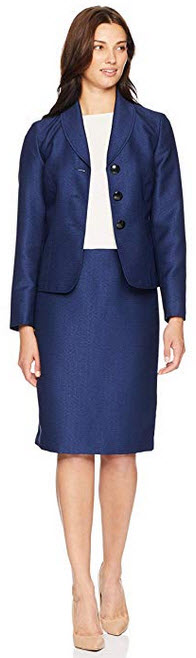 Le Suit Womens 3 Button Shawl Collar Novelty Skirt navy black