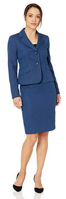 Le Suit Womens Petite 2 Button Notch Collar Novelty Skirt Suit navy multi