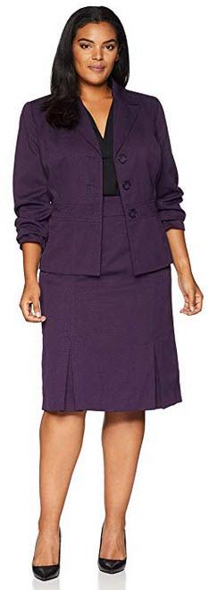 Le Suit Women's Plus Size 3 Button Peak Lapel Crosshatch Skirt Suit concord