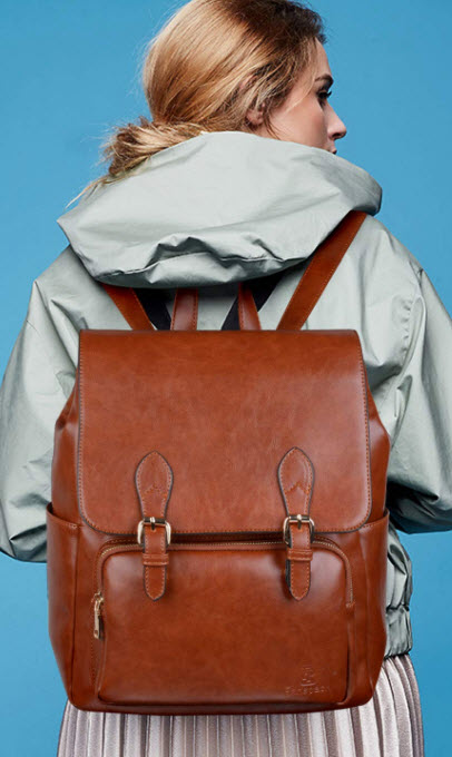 Leather Backpack, Fanspack Womens Backpack PU Leather Backpack Ladies Shoulder Bag Schoolbag