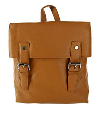 Leather Impressions Women's Magnetic Buckle Backpack Purse, tan