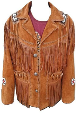 LEATHERAY Men's Fashion Western Cowboy Fringe & Bones Jacket Suede Leather Brown