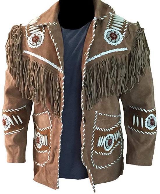 LEATHERAY Men's Fashion Western Cowboy Fringed & Bones Jacket Suede Leather Brown