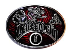 Led Zeppelin Rock Band Oval Metal/Red Enamel Belt Buckle by Main Street 24/7