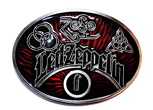 Led Zeppelin Rock Band Oval Metal/Red Enamel Belt Buckle by Main Street 24/7
