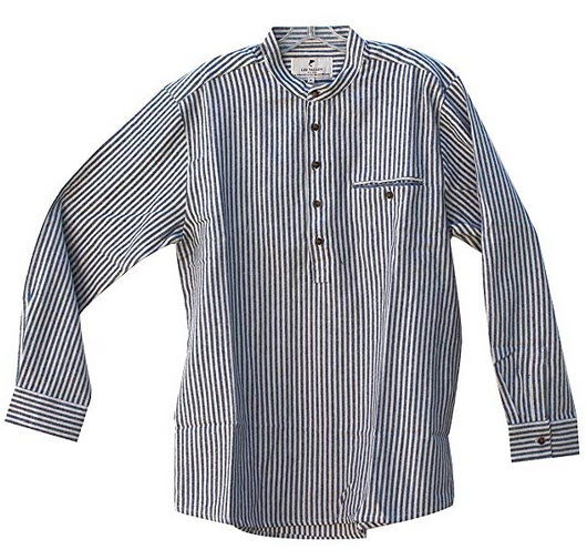 Lee Valley Grandfather Shirt Mens Flannel Blue Cream Stripe