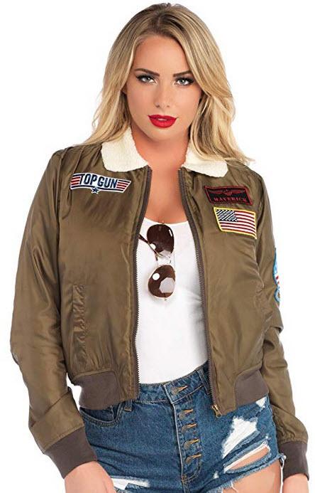 Leg Avenue Women's Top Gun Licensed Bomber Jacket khaki