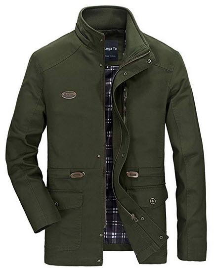 Lega Men's Cotton Hooded Coat Zip Windbreaker Jacket army green