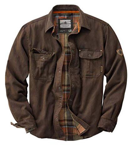 Legendary Whitetails Men's Journeyman Flannel Lined Rugged Shirt Jacket, tobacco