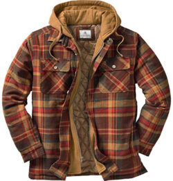 Legendary Whitetails Men's Maplewood Hooded Flannel Shirt Jacket, brown plaid