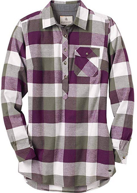 Womens Firelight Popover Long Sleeve Flannel Tunic army plum plaid