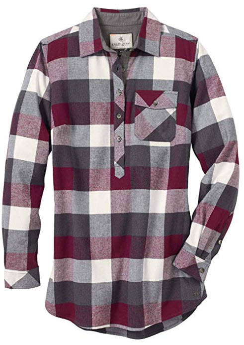 Legendary Whitetails Women's Firelight Popover Long Sleeve Flannel Tunic Mulberry Plaid
