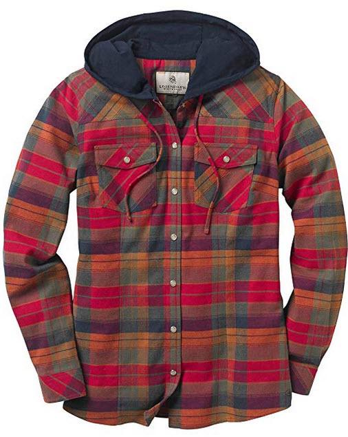Legendary Whitetails Women's Lumber Jane Hooded Flannel Long Sleeve Shirt falling leaves r ...