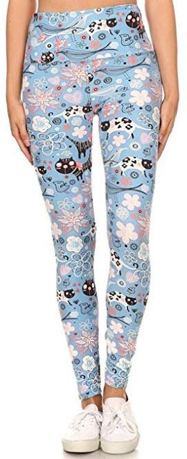 Leggings Depot Yoga 5″ Wideband REG/Plus Women's Buttery Soft Printed High Waist Leg ...