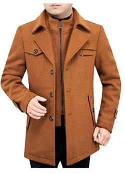 LegogoMen's Wool Collar Mid-Length Slim Fit Lapels Single-Breasted Winter Jacket Warm Wool Coat