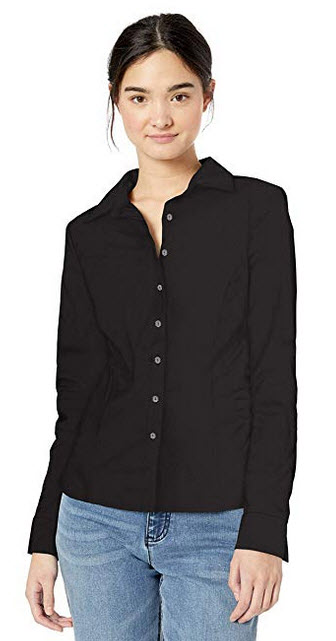 Leighton By My Michelle Womens Classic Long Sleeve Career Button Down Shirt black