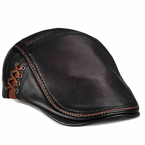 lethmik Unique Flat Cap Hunting Cowhide Leather Driver IVY Cap newsboy Hat