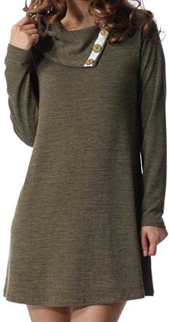 levaca Women's Long Sleeve Button Deco Neck Loose Casual Short T Shirt Dress
