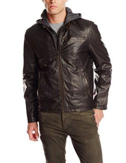 Levi's Men's Big & Tall Faux-Leather Hoodie Racer Jacket.