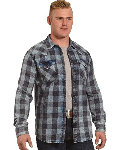 Levi's Men's Blue Bleesh Flannel Long Sleeve Shirt
