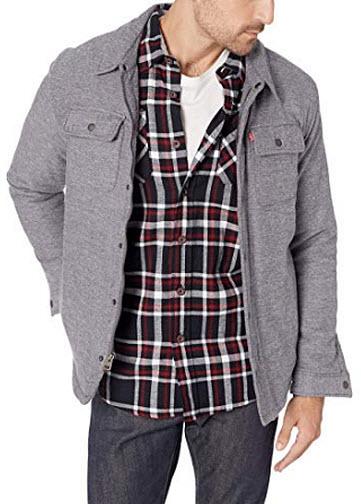 Levi's Men's Sherpa Lined Soft Shirt Jacket, light grey