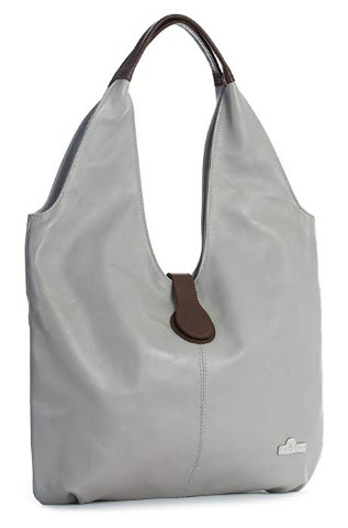 LIATALIA Genuine Italian Soft Leather Large Boho Hobo Tote Shopper Shoulder Bag – ZOE, lig ...