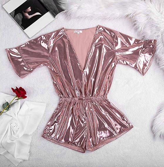 LICKLIP Shiny Metallic Pajama Romper Buttoned Wrap Bell Sleeve Short Jumpsuit Women One Piece Pa ...