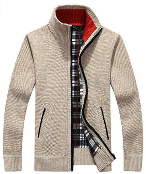 Liengoron Men's Casual Winter Stand Collar Full Zip Knitted Slim Cardigan Sweater khaki