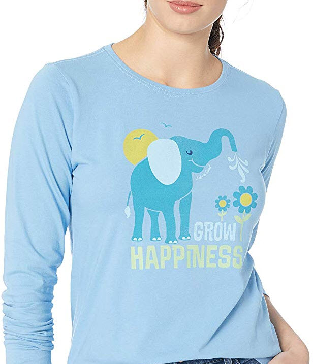 Life is Good Women's Crusher Longsleeve Grow Happiness Athletic T Shirts, Powder Blue, Large
