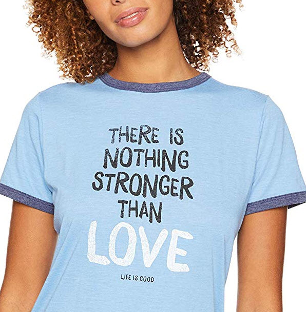 Life is Good Women's Ringer Cool Tee Stronger Than Love, Powder Blue, Large